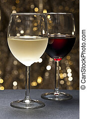 White, Red Wine in front of beautiful background - White and...