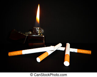 burning with cigarettes and lighter