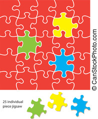 25 piece jigsaw blank. When used with a vector program each...