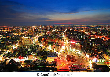 Skyline of Tainan City in Taiwan at night