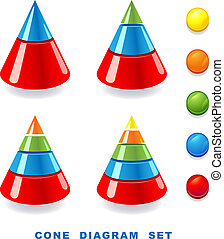 Cone diagram set. Vector illustration.