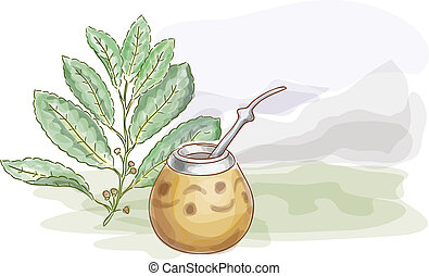 Yerba Mate and Calabash Watercolor style Vector illustration...