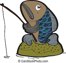 fish fishing vector - illustration of a trout fish fly...