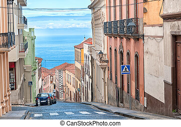 City sea view, La Orotava, Canary islands - Street in...