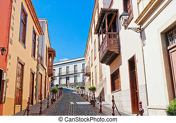Street in Spain, La Orotava, Canary islands - Paved street...