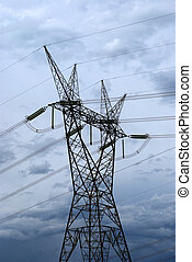 Electrical tower in the biggest hydroelectric plant of the...