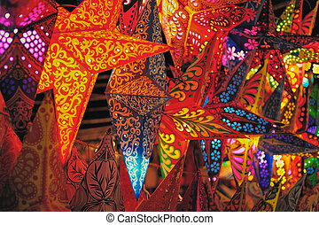 Paper Lanterns - Christmas decoration. Folding paper...