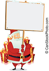 Merry Christmas : Santa Claus Holding Wood Sign