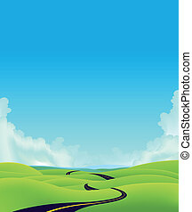 Deep Country Road Landscape - Illustration of a cartoon long...