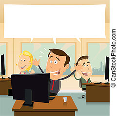 Welcome In Business - Illustation of cartoon business people...