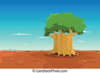 Baobab Inside African Desert - Illustration of a cartoon...