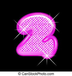 2 number girly pink bling bling