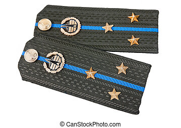 Shoulder straps of russian army on white background