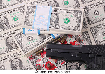 pistol - A pistol with a bloodstained one-dollar bill,...