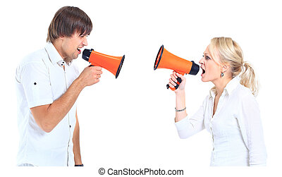 a man and a woman shouting at each other