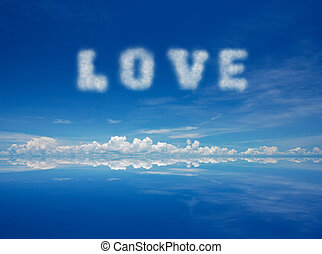 love - Word love of cloud over blue sky.