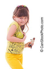 girl with apple and chocolate