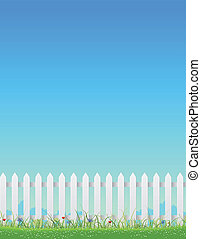 White Fence And Blue Sky - Illustration of a white fence...