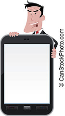 Cartoon Man Holding Smartphone Sign - Illustration of an...