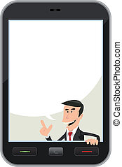Smartphone Speech Bubble - Illustration of a cartoon...
