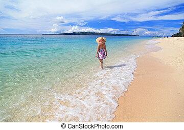 Summer beach with blue sky