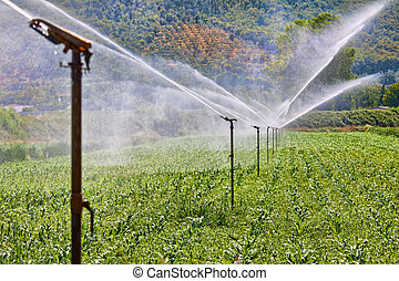 Irrigation system working on a farm - Figure shows how the...