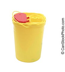 Yellow plastic medical container