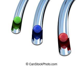 Three color balls - Three colored balls roll along a...