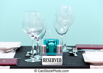 Reserved restaurant table setting