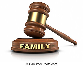 """Family Law - Gavel and """"FAMILY"""" word writing on sound block."""