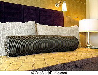 Contemporary bedroom - Closeup of bed in contemporary...