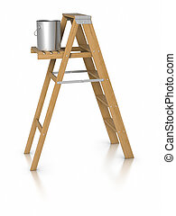 Step ladder and paint bucket - 3d Step ladder and paint...