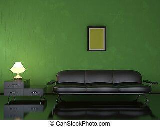 Interior with a black sofa