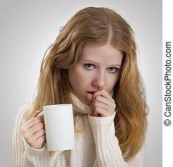 niña, enfermo, gripe, toses, jarra, té
