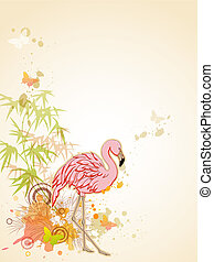Pink flamingo - Vector background with Pink flamingo and...