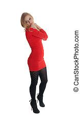 blonde in a red dress