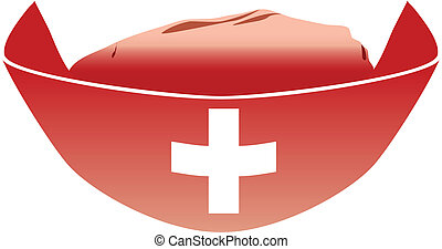 Medica Red Hat - Medical red hat with white cross Vector...