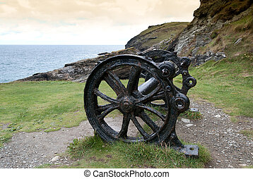 cannon in Camelot - remains of a cannon of King Arthur at...