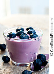 Ripe blueberries in yogurt - Ripe blueberries in the yogurt...