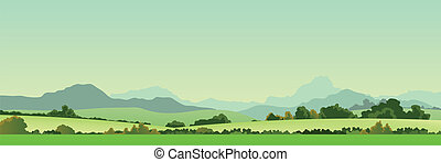 Summer Season Country Banner - Illustration of a wide summer...
