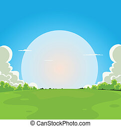 Cartoon Moonrise Background - Illustration of a cartoon moon...