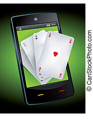Smartphone Gambling - Poker Aces - Illustration of four...