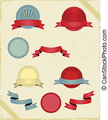 Vintage Ribbons And Banners Series - Illustration of a...