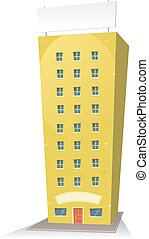 Cartoon Building With Sign - Illustration of a cartoon...