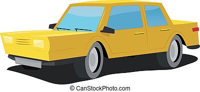 Cartoon Car - Illustration of a simple cartoon yellow...