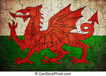 Grunge Wales flag - Welsh flag on a cracked grunge...
