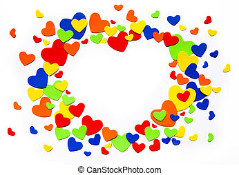 Art colorful love hearts on a white background