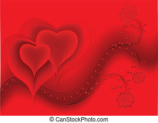 two hearts on wavy background