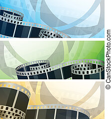 Set of banners with film reel