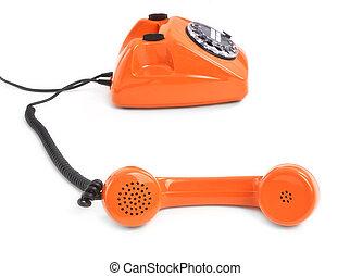 telefono, quadrante, bianco, fondo, classico